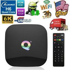Q Plus 4Gb+32Gb Smart Tv Box Android 9.0 H6 Quad Core 6K Usb3.0 WiFi 3D Hd Media