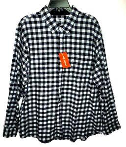 Joe Fresh Mens XL Blue Gray Plaid Flannel Button Long Sleeve Up Shirt
