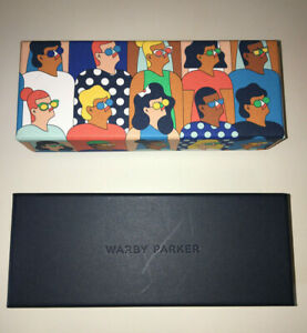 2 WARBY PARKER Cartoon Faces Box & Navy Blue WARBY PARKER Empty Eye Glass Boxes
