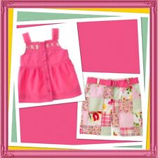 "NWT 4T Janie & Jack ""SUMMER CLASSICS"" 3pc Patchwork Shorts Belt Top PINK COT Set"