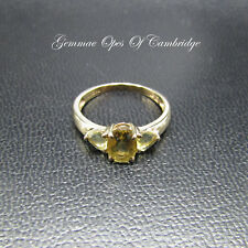 9ct Gold Green Amethyst Ring Size L 1.8g