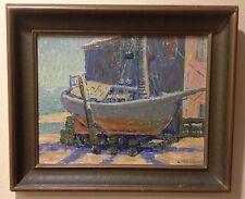 Vintage Boatyard Painting Listed Signed A Burkland (1879-1927) Framed Colorful