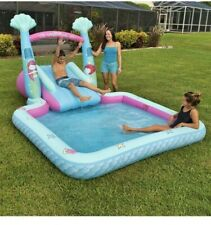New listing Kid's Mermaid Themed Novelty Pool With A Two-Step Slide & Water Spray Arch