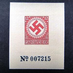 Germany Nazi 1944 Stamp MINT Adolf Hitler Swastika Essay Small Block WWII Third