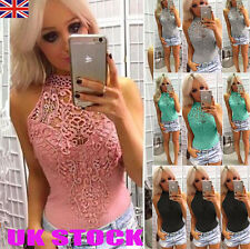 UK Womens Choker Lace Sleeveless Bodysuit Stretch Summer Party Leotard Tops