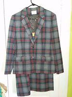 Womens Vintage Pendleton Tartan Plaid Suit Skirt Jacket Set Made in USA Large