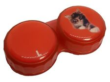 Red Kitten Cat Flat Contact Lens Storage Soaking Case - L+R Marked - UK Made