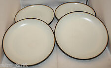 Crate and Barrel Set of 4 Salad Bowls Brown Mustard Yellow Bands Made in Japan