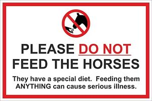PLEASE DO NOT FEED THE HORSES SIGN 300x200 400x300 600x400mm - METAL / PLASTIC