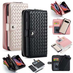 Magnetic Zipper Phone Wallet Case Cover Purse For Samsung S10 S10e S10 Plus