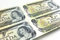 Four 1973 Canada One Dollar BFK Prefix 4 Uncut Uncirculated 1 Banknote J528