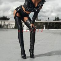 Women Pointy Toe High Stileeto Heel Thigh Boot Shoe Leather Sexy Clubwear Belt