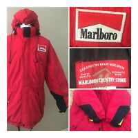 Vtg Marlboro Mens Large Puffer Down Jacket Red Outdoor Hooded Marlboro Country