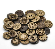 50 Mixed Coconut Shell Wooden Buttons 5/8 inch 2 Hole Coconut Wood Button 19947