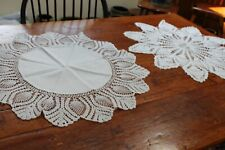 """Vintage 2 25"""" Hand Crocheted Snowy White Doilies"""