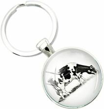 Bassin and Brown Unisex Cow Key Ring - Black/White