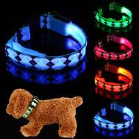 Pet Dog Puppy Adjustable LED Light Nylon Night Safety Flashing Light Neck Collar