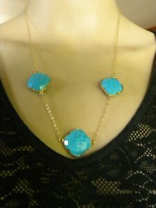 """14KGF YELLOW GOLD & TURQUOISE CROSS PENDANT NECKLACE 22"""""""
