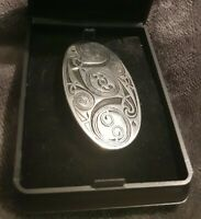 St Justin Celtic vintage pewter oval brooch pin boxed