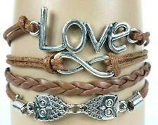 Love Big Letters Owls Brown Infinity Layer Wrap Bracelet