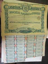Action de 100 Francs au Porteur de 1920 Société Navale de l'Ouest