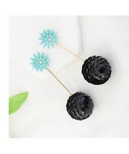 New elegant chic daisy style light blue, pink, black & gold drop stud earrings
