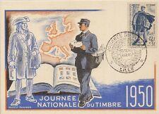 CARTE POSTALE MAXIMUM JOURNEE NATIONALE DU TIMBRE RAOUL SERRES 1950
