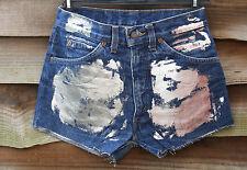 "Blue Denim LEVI STRAUSS 627 Foil High Waist Hot Pants Shorts Size W30"" L2"""