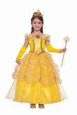Girls Belle Costume Golden Princess Beauty & The Beast Child Size Large 12-14