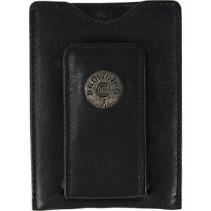 Browning Slug Front Pocket Money Clip , Black Leather Billfold
