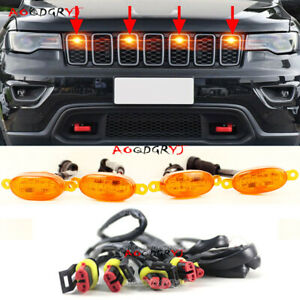 Raptor Style Amber Lens Front Grille LED Lights For Jeep Grand Cherokee 2011-21