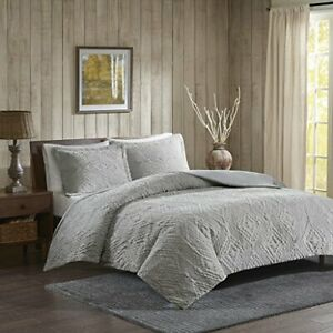 Woolrich Embroidered Coverlet Set 3 Piece - Gray - Size: King/Cal King