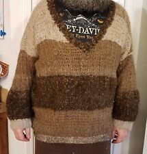 Hand crocheted hand spun llama wool sweater Men's 2XL to 3XL Unisex Very Warm