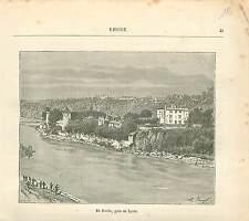 Ile Barbe Lyon Rhone FRANCE GRAVURE ANTIQUE PRINT 1882