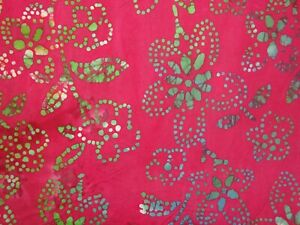 Quilter's Batik Floral Green Orange on Red Tones Quilting Cotton Fabric YARD 408