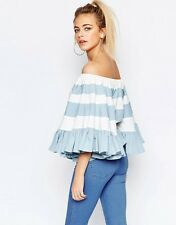 HALEY OFF SHOULDER BLUE & WHITE Ruffle Stripe BIG Sleeve Blouse/Shirt/Top L BHCS