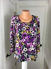 Caribbean Joe Island Supply Cotton Spandex  Floral  3/4  Sleeve Top Shirt New  M