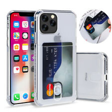 For iPhone 11 Pro Max XS XR X 7 8 Plus Card Pocket Silicone Clear Case Cover