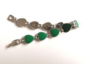 White Gold Plated Link Clasp Green Epoxy Enamel Love Heart Beads Bangle Bracelet