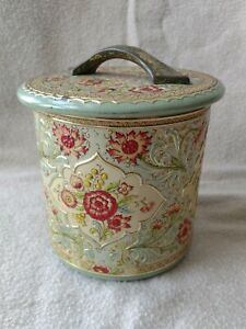 Vintage Floral Embossed Kitchen Tin Canister Made in Holland
