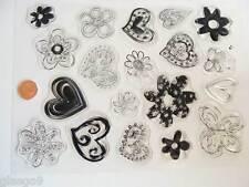 19 tampons plastique transparent Clear Stamps COEUR FLEUR Planche 20x15cm MOD2