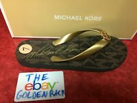 NIB Michael Kors Jet Set Womens Rubber Flip Flops Brown/Gold SZ 6-10 45H3MKFAQ