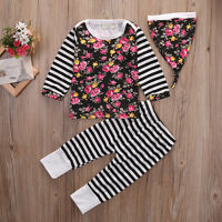 Newborn Infant Baby Girl Clothes Tops+Leggings Pants Hat 3Pcs Outfits Sets 0-24M