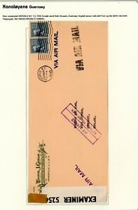 1940 Guernsey   from USA  'No Service'  Occupation Cover     (O418)