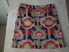 BODEN Women's Navy Red Taupe Retro Flower Skirt SIZE 12R   (UK 14R)