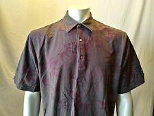 Greg Norman 60/2 Double Mercerized Green Purple Striped Men's Polo Shirt Size XL