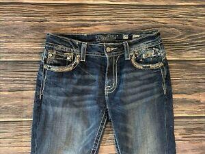 Women's Miss Me Buckle Dark Wash Mid Rise Straight Leg Jeans Sz 29 x 32 NICE