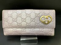 Auth GUCCI GG Logo Pattern Canvas Leather long Wallet Heart Italy Y1409
