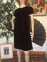 Vintage 60s Suzy Perette Chocolate Brown Velvet Shift Dress Medium/Large