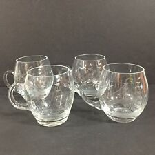 Vintage Set of 4 Clear Etched Glass Mugs Sailboat Ship Birds Seagull Nautical
